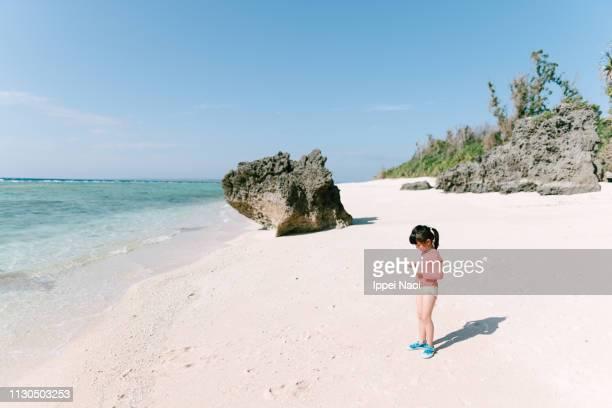 Preschool girl picking up shells on idyllic tropical beach, Okinawa, Japan