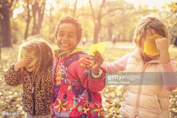 Preschool girls in park.