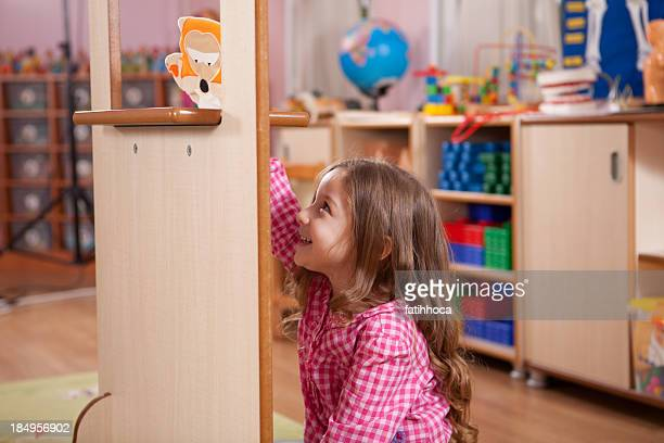 preschooler and puppet - puppet stock photos and pictures