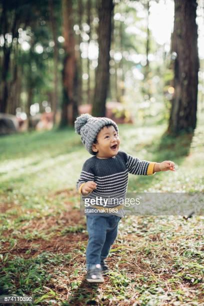 preschooler exploring the woods - estação do ano imagens e fotografias de stock