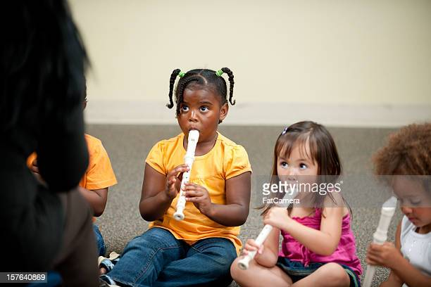 preschooler music class - recorder musical instrument stock photos and pictures