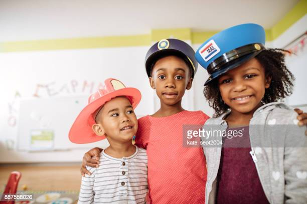 Preschoolers learning about different professionals