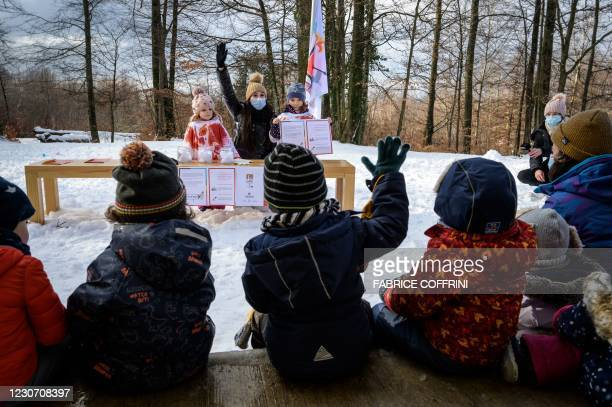 Preschoolers reacts on January 18, 2021 in Lausanne during a referendum, organized by private preschools network Educalis, aimed to ease young...