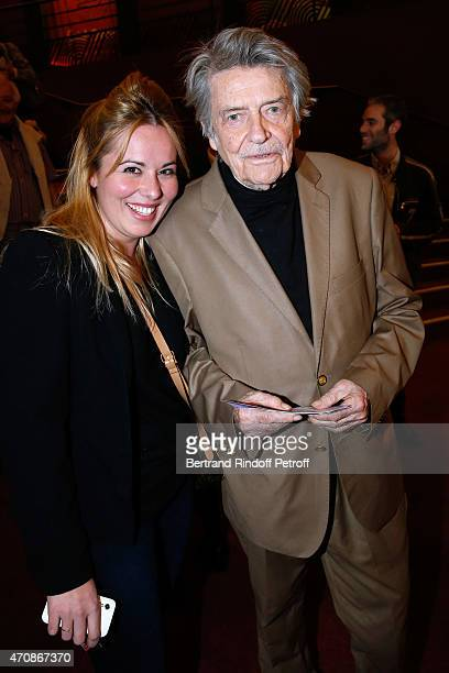 Prescilla Andreani and Director JeanPierre Mocky attend French Humorists Regis Laspales and Philippe Chevallier perform in their show Vous reprendrez...