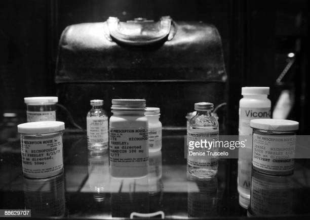 Prescription bottles once belonging to Elvis Presley are seen on exhibit and to be auctioned off June 2627 at Planet Hollywood Casino Resort on June...