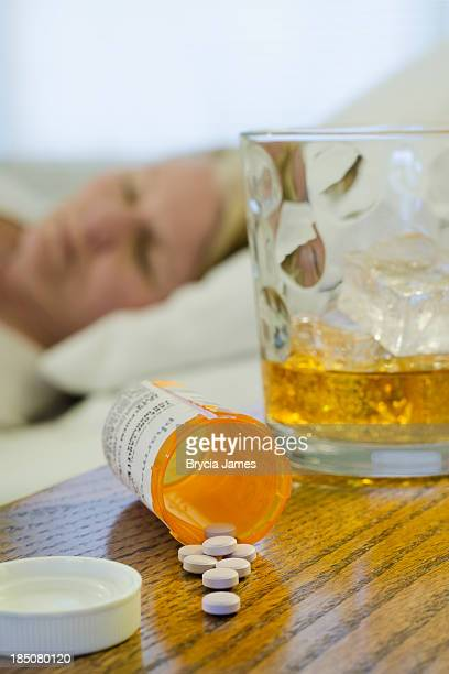 Prescription Drug and Alcohol Abuse Vertical with Copy Space