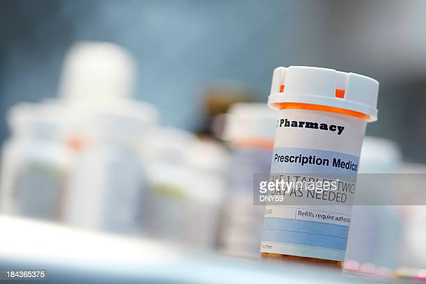 Prescription drug bottle on countertop