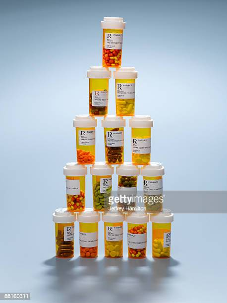Prescription drugs stacked as pyramid