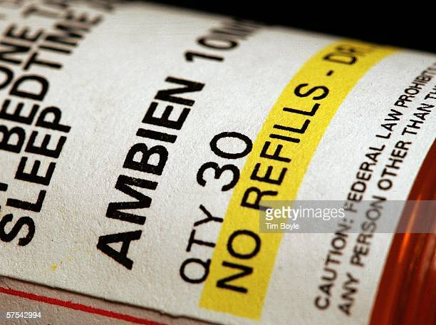 A prescription of bottle of Ambien is shown May 5 2006 in Des Plaines Illinois