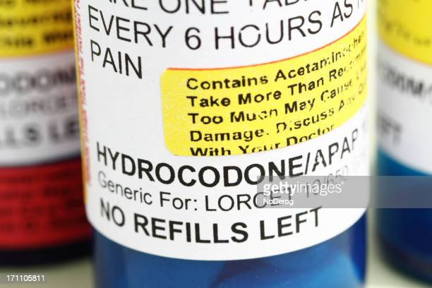 prescription pain relief medicine hydrocodone. - hydrocodone stock pictures, royalty-free photos & images