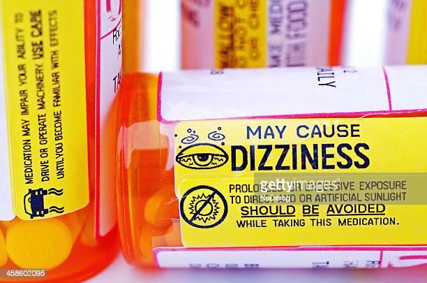 錠剤ボトルに設定と情報のラベルの警告が表示されます。