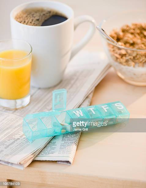 Prescription pills on breakfast table