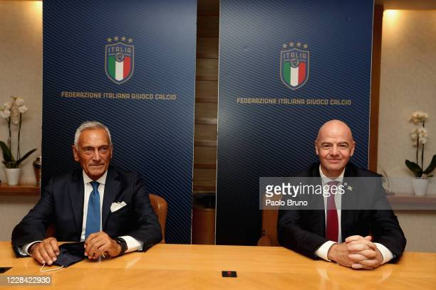 Presdent Gabriele Gravina and FIFA President Gianni Infantino attend the FIGC press conference on September 9, 2020 in Rome, Italy.