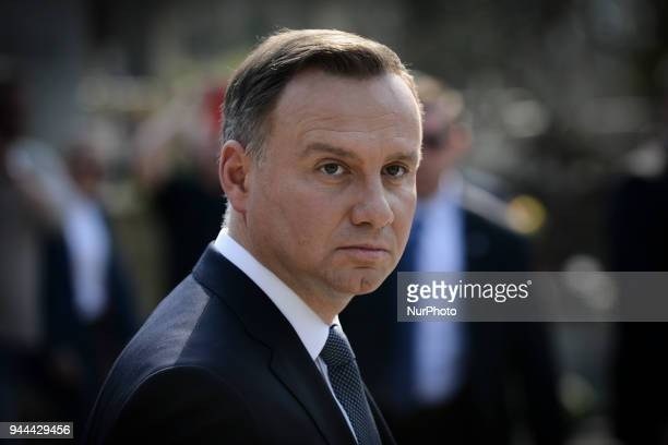 Presdient Andrzej Duda and his wife Agata Kornhauser-Duda are seen during the wreath laying ceremony of the victims of the Smolensk crash on April...