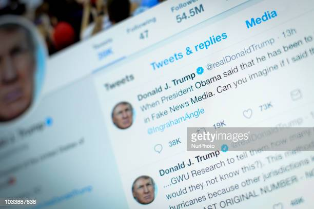 US Presdient Donald Trumps Twitter feed is seen on a laptop screen in Warsaw Poland on September 15 2018