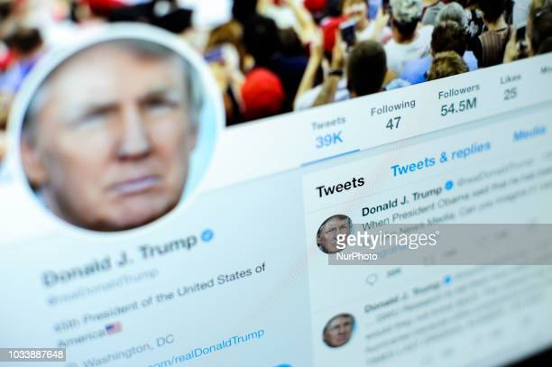 Presdient Donald Trumps Twitter feed is seen on a laptop screen in Warsaw, Poland on September 15, 2018.