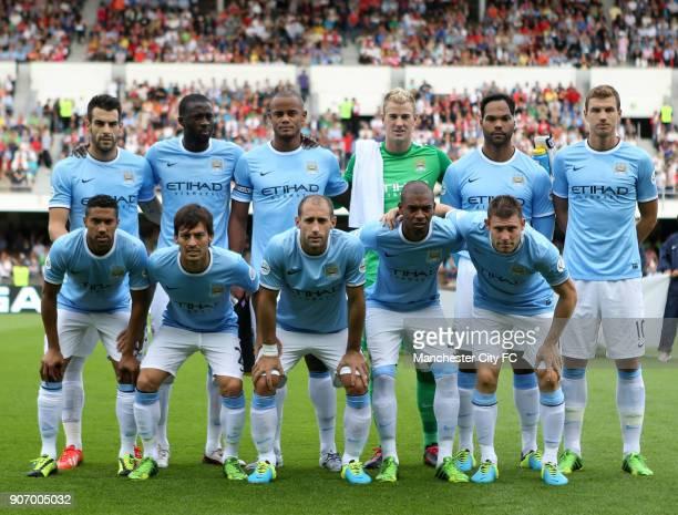 PreSeason Friendly Helsinki Arsenal v Manchester City Olympic Stadium Manchester City's Alvaro Negredo Yaya Toure Vincent Kompany Joe Hart Joleon...