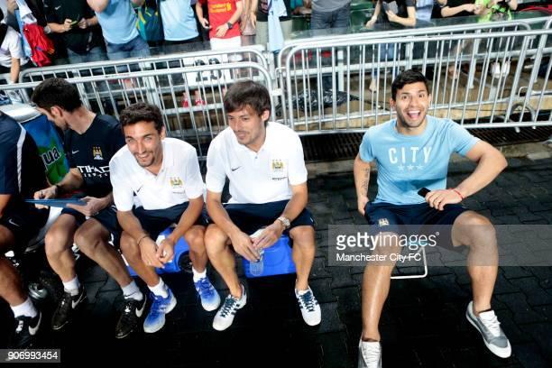 Preseason Tour Barclays Asia Trophy Manchester City v South China Hong Kong Stadium Manchester City's Jesus Navas David Silva and Sergio Aguero sit...