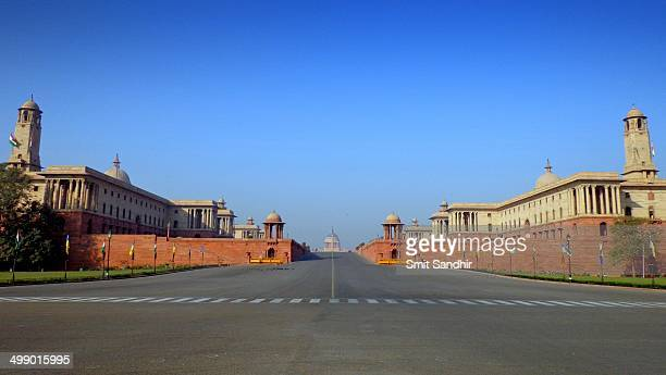 CONTENT] Presedent's Secretariat with North Block and South Block taken from Rajpath or the King's Way