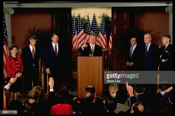 Preselect Bill Clinton flanked by economic appointees Altman Bentsen Panetta VPelect Gore Rubin Rivlin introducing newcomers to his administration at...