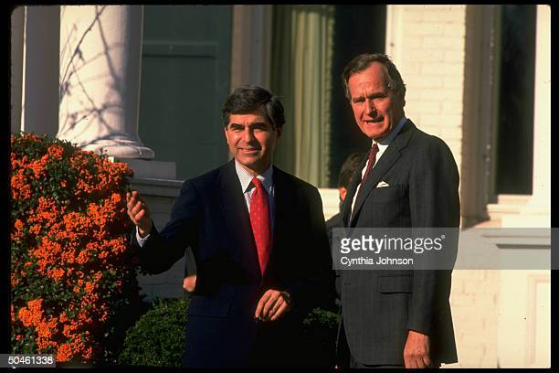Preselect George Bush w MA Gov Michael Dukakis the defeated Dem pres nominee