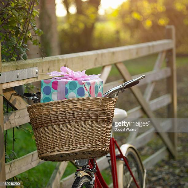 Present in basket on bike.