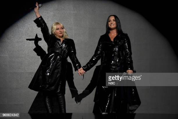 AWARDS Presentation 2018 BBMA's at the MGM Grand Las Vegas Nevada Pictured Christina Aguilera Demi Lovato
