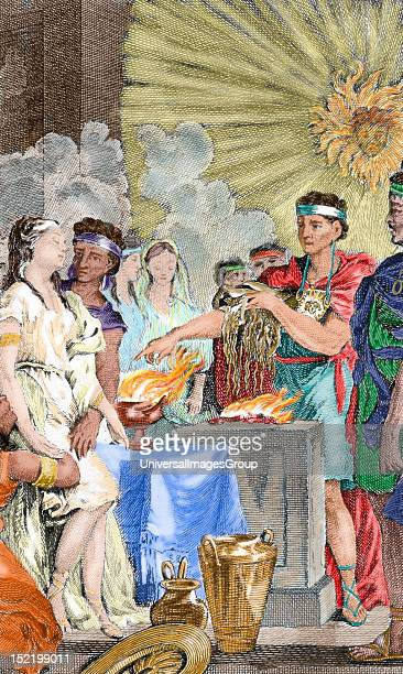 Presentation at the Inca temple of three virgins to be consecrated to the sun Colored engraving 1820