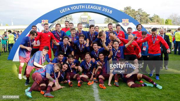 Presentation ceremony of Barcelona after the UEFA Youth League Final match between Chelsea FC and FC Barcelona at Colovray Sports Centre on April 23,...