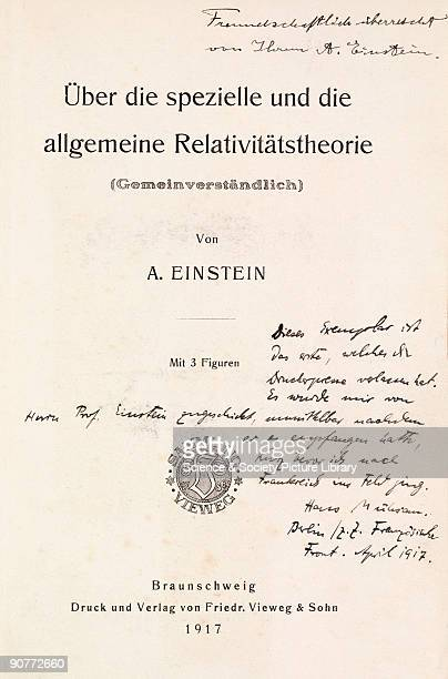 Presentation copy of ber die spezielle und die allgemeine Relativittstheorie by Albert Einstein published in Braunschweig in 1917 The page is...