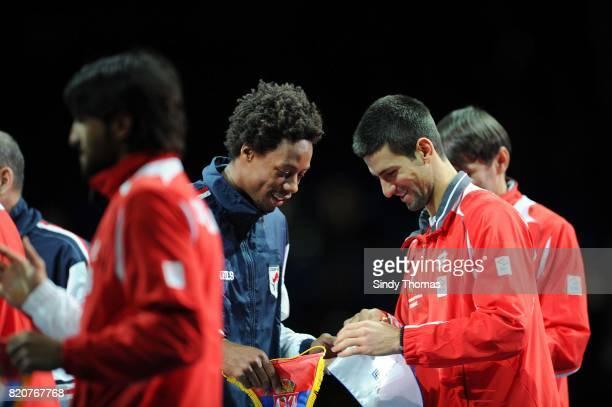 Presentation des equipes - Novak Djokovic / Gael Monfils - - Double - France / Serbie - Finale Coupe Davis 2010 - Belgrade - Serbie,