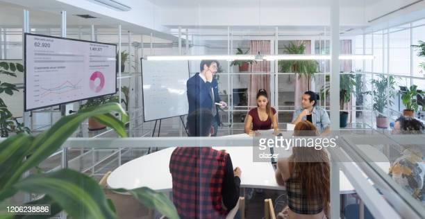 presentazione in una riunione multietnica del team aziendale, vista dall'esterno attraverso le finestre - concorso foto e immagini stock