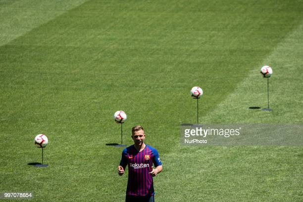 Presentation of Arthur Melo from Brasil after being the first new signing for FC Barcelona 2018/2019 La Liga team in Camp Nou Stadiu Barcelona on 11...