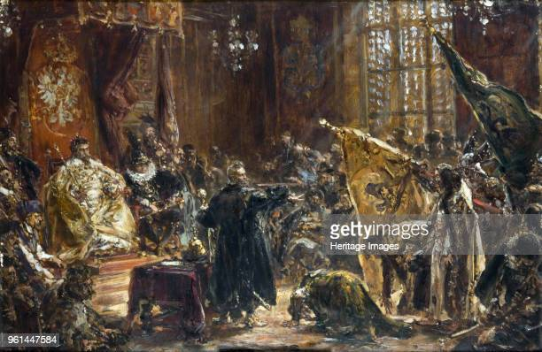 Presentation of Czar Vasili Shuisky by the hetman Stanislaw Zolkiewski at the Warsaw Sejm in 1611, 1892. Found in the Collection of Jan Matejko...