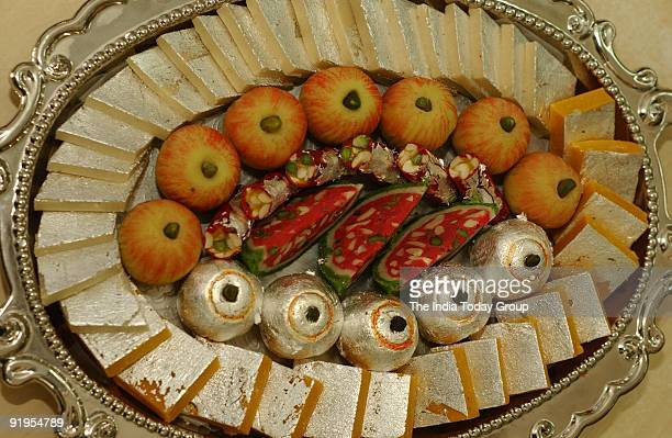 Presentation of exotic sweets during Diwali