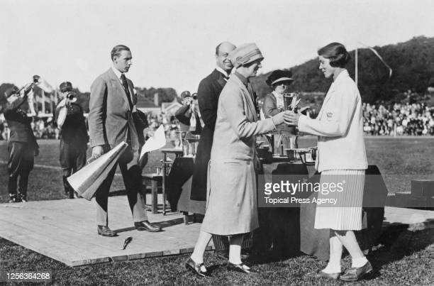Presentation of Gustaf V of Sweden's special prize to the tournament winners Great Britain during a ceremony at the close of the 1926 Women's World...
