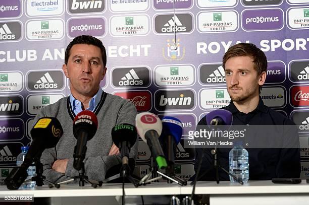 Presentation of Marko Marin and Head coach Besnik Hasi of RSC Anderlecht in the RSC Anderlecht training center on January 20 2015 in NeerpedeBelgium