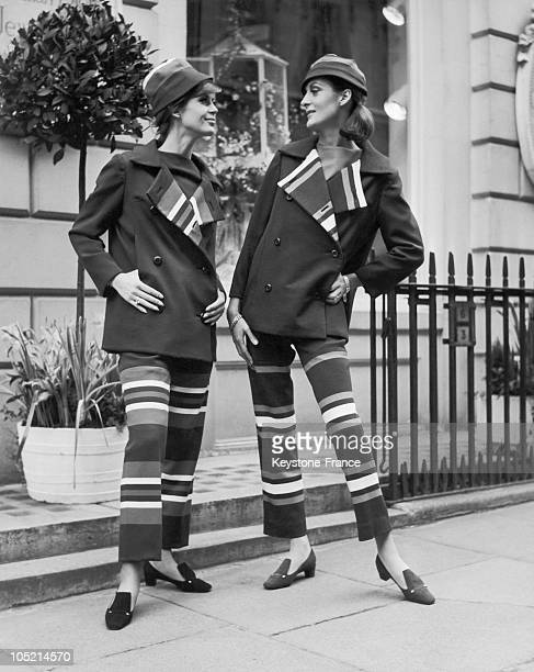 Presentation Of Outfits Of Christian Dior'S Spring Collection Created By Marc Bohan In London On March 1 1966 Jil Lesline Is Seen Wearing Pants In...