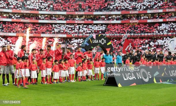 Presentation of SL Benfica e SC Braga during the Liga NOS match between SL Benfica and SC Braga at Estadio da Luz on February 15, 2020 in Lisbon,...