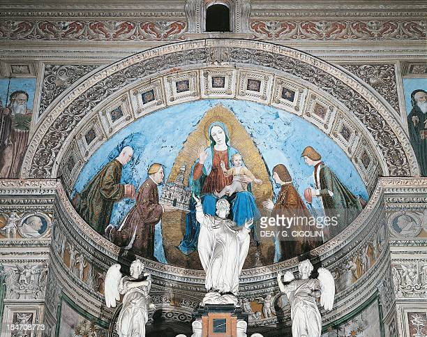 Presentation of the charterhouse to the Virgin by Gian Galeazzo Visconti and his children Filippo Maria, Giovanni Maria and Gabriele Maria, fresco by...
