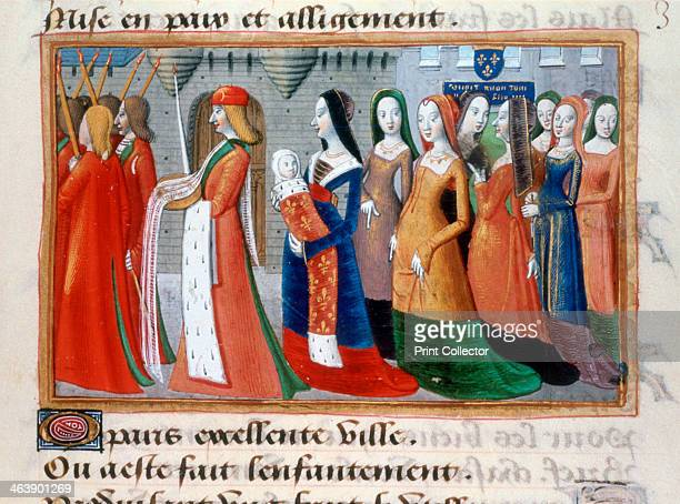 Presentation of the Dauphin the future Charles VII The new baby swaddled in a robe trimmed with ermine and bearing the fleur de lis is carried in a...