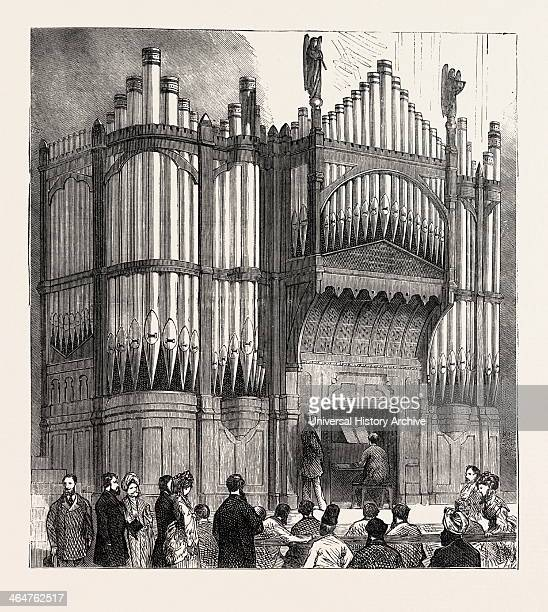Presentation Of The Freedom Of The City To Sir Albert D Sassoon Ksi Organ Presented By Sir Ad Sassoon To The Town Hall Bombay India 1873 Engraving
