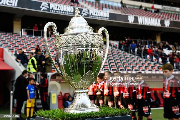 Presentation of the french cup Nice won the trophy in 1997 during the French Ligue 1 match between Nice and Guingamp at Allianz Riviera on January 29...