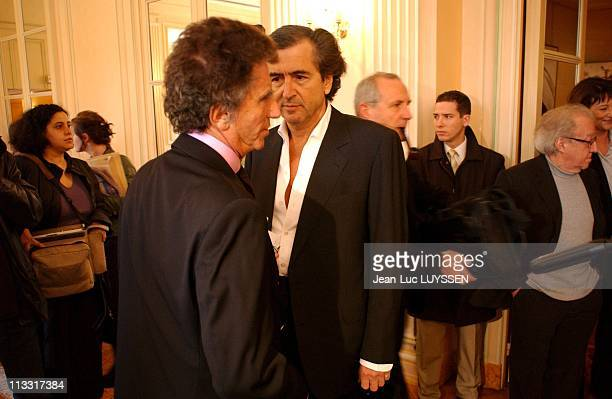 Presentation Of The List Of The Personalities Which Support Yes To The Constitutional Treaty With The Ps On March 21St 2005 In Paris France Jack Lang...