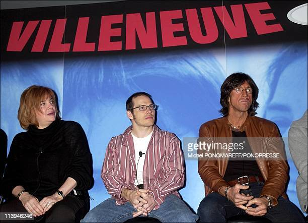 Presentation of the movie Villeneuve about the life of F1 pilot Gilles Villeneuve in Montreal Canada on February 24 2005Left ro right producer...