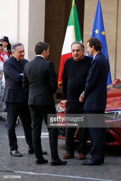 Presentation of the new Giulia Alfa Romeo In the picture Matteo Renzi John Elkann Sergio Marchionne president and CEO of FCA and Alfredo Altavilla...