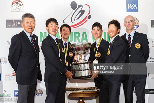 Presentation of the Nomura Cup to the winning team, Japan. Left to right, Katsui Hotta, team captain, Naoyuki Kataoka, Takumi Kanaya, Daisuke...