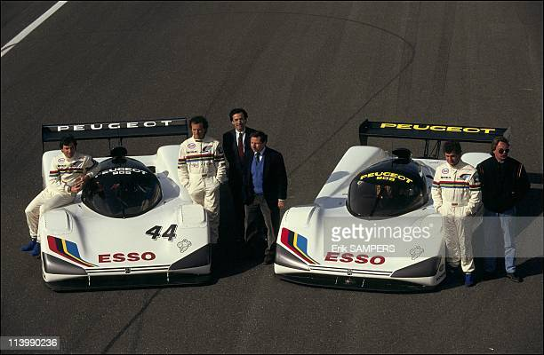 Presentation of the Peugeot 905 for the 1991 season In Le Castellet France On February 19 1991Mauro Baldi Philippe Alliot Jean Todt Frederic Saint...
