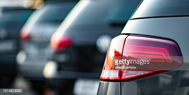 presentation of used vw vehicles at a public car dealer in hamburg, germany - volkswagen stock pictures, royalty-free photos & images
