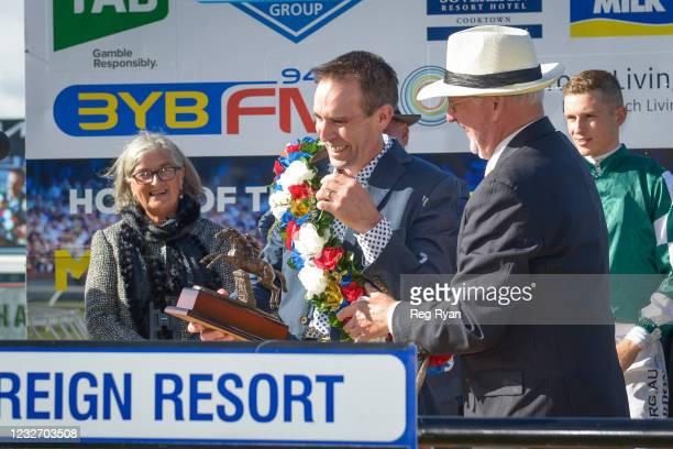 Presentation to Brett Scott after The Statesman won the Sovereign Resort Galleywood Hurdle at Warrnambool Racecourse on May 04, 2021 in Warrnambool,...